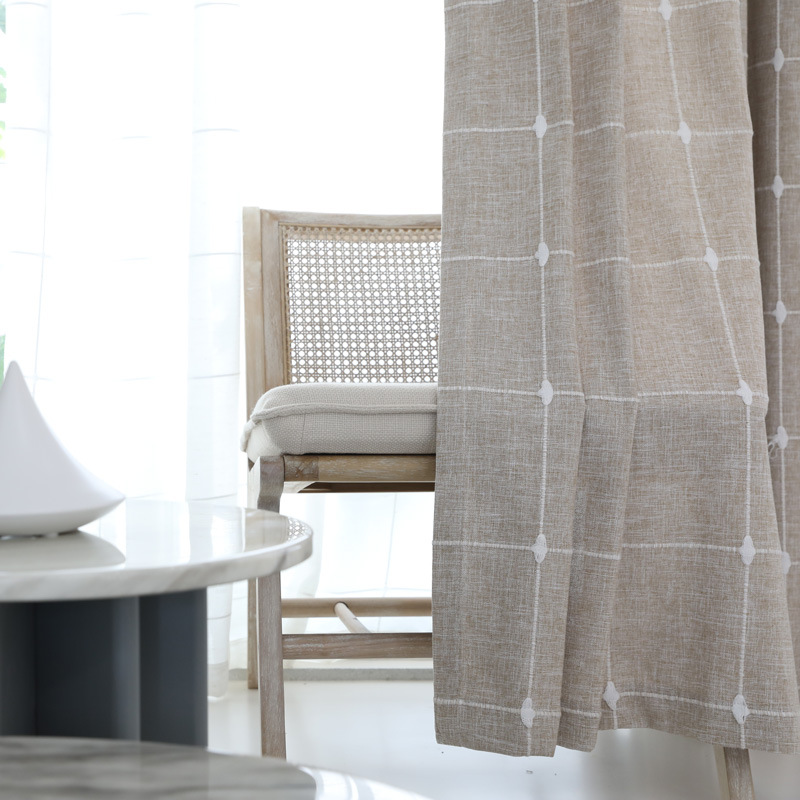 Japanese Lattice Jacquard Curtains Nordic Artificial Linen Semi Shade Window Curtains For Bedroom And Living Room