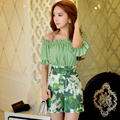 Original New 2016 Brand Overalls Summer Style Plus Size Slim Fashion Casual Green Print Jumpsuits Women Wholesale