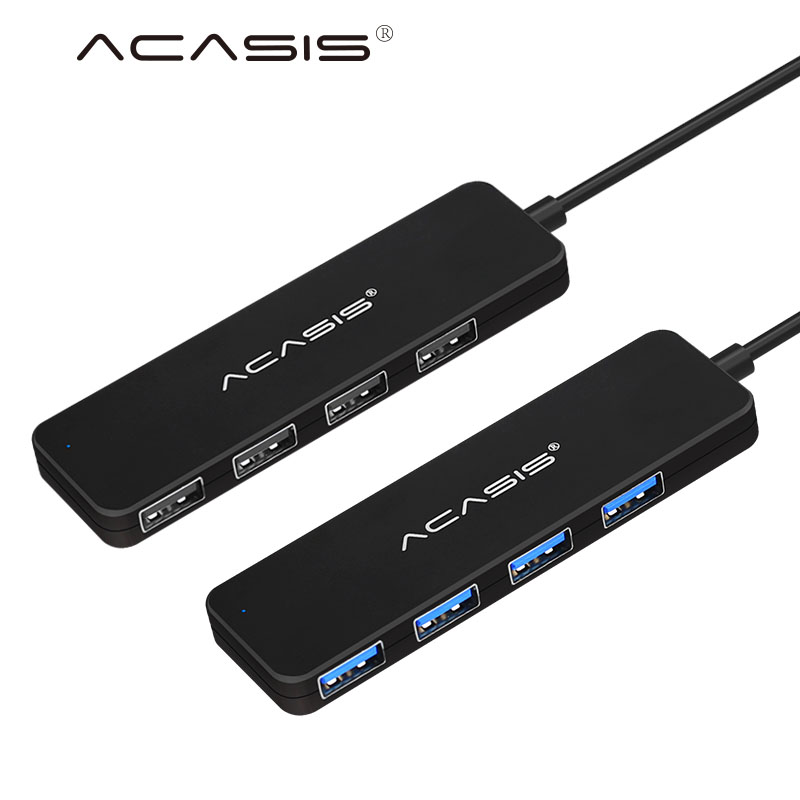 Acasis USB 2.0 3.0 Compact Light weight Portable High Speed USB Hub for Laptop 4 Ports Adapter Usb 2.0 3.0 USB Splitter - Black