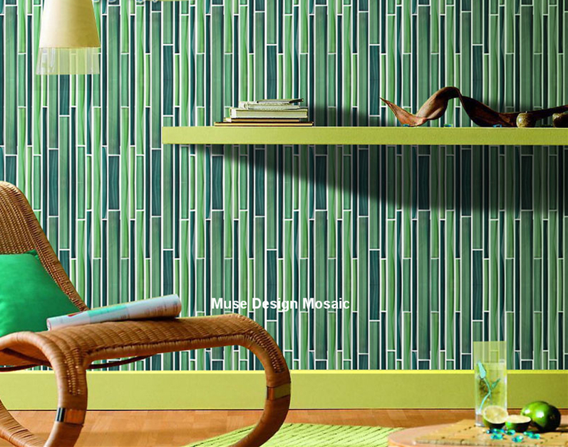 US $258 0 |Green Bamboo Hand painted Crystal Glass Mosaic Tile wall tile  bathroom TV background tile 3D wallpaper Kitchen Backsplash-in Wallpapers