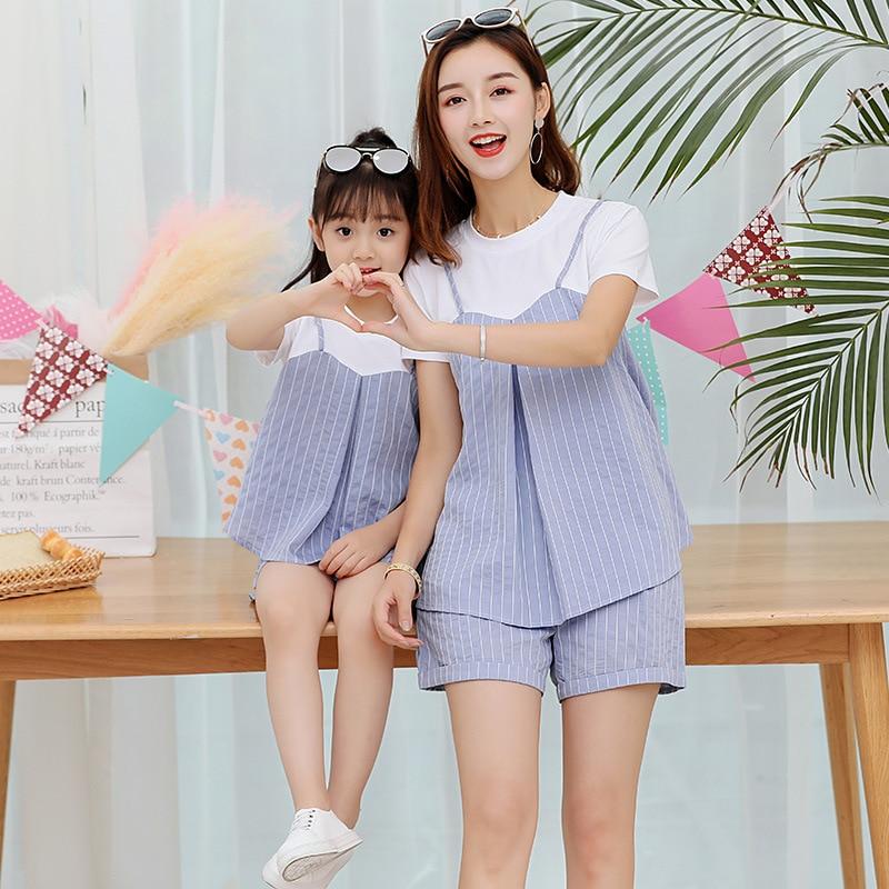 2018 été nouvelle mère et fille ensemble vêtements bébé petites bretelles rayées fraîches + shorts deux pièces costume famille vêtements ensembles