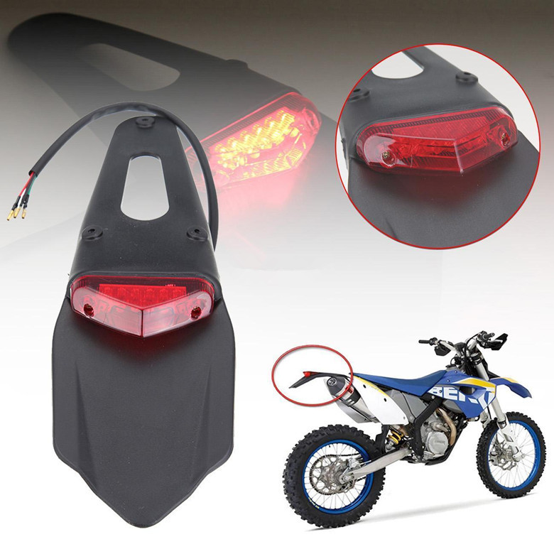 Universal Motorcycle LED Brake Tail light & Rear Fender Back Splash Guard Motocross Dirt Bike Custom Motorbike