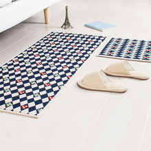 Blue plaid carpet minimalist modern kitchen mats absorbent non-slip otomanos bedroom bedside step foot foyer bathroom alfombra