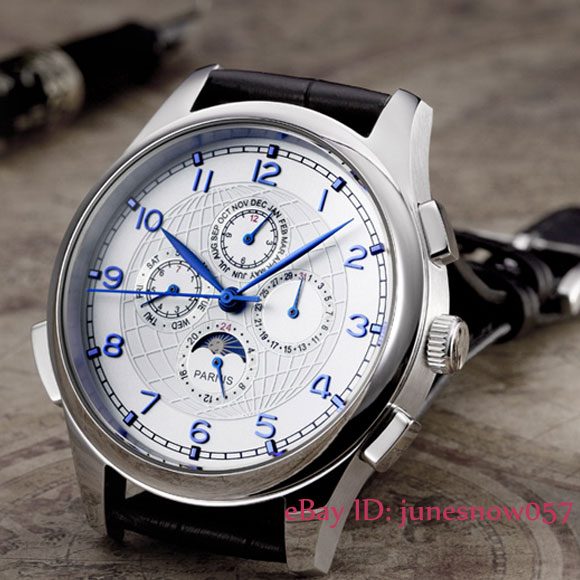 Parnis watch 44mm White dial Blue hands Moon Phase week and date Multifunction Automatic Self-Wind movement Men's watch P124 цена