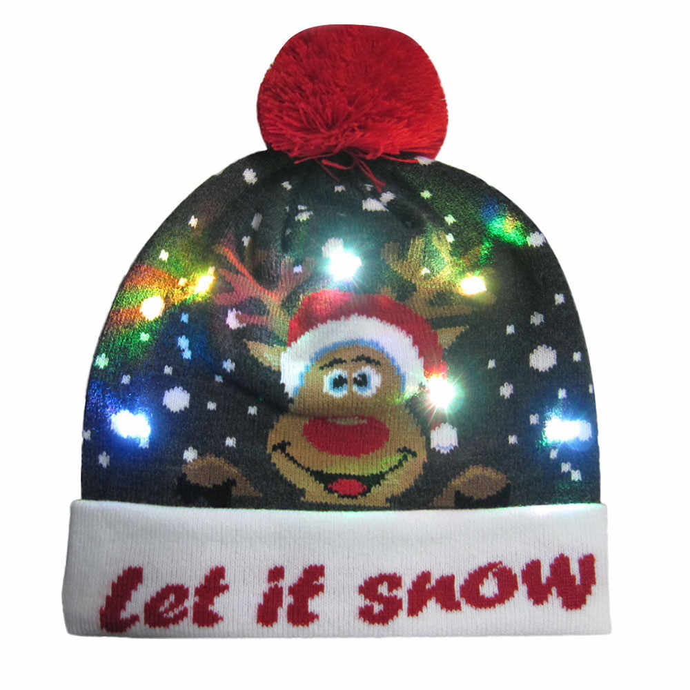 ... Novelty Festival Celebrate Character Caps LED Light-up Knitted Ugly  Sweater Holiday Xmas Christmas Party ... e15e2a1817dc