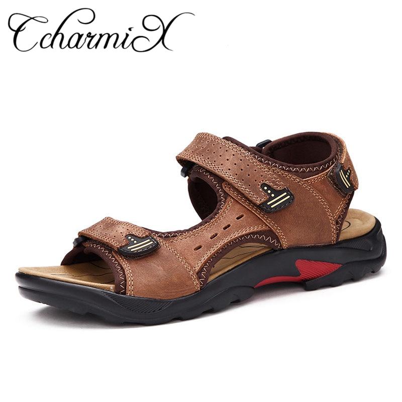 a7a090046a119e CcharmiX Genuine Leather Men Sandals Outdoor Soft Rubber Sole Beach Shoes  Native Top Quality Leisure Summer
