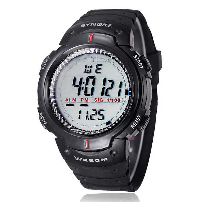 Fashion Pria Olahraga Jam Tangan Synoke Merek Elektronik LED Digital Watch Kehidupan Tahan Air Outdoor Dress Jam Tangan Militer Watch