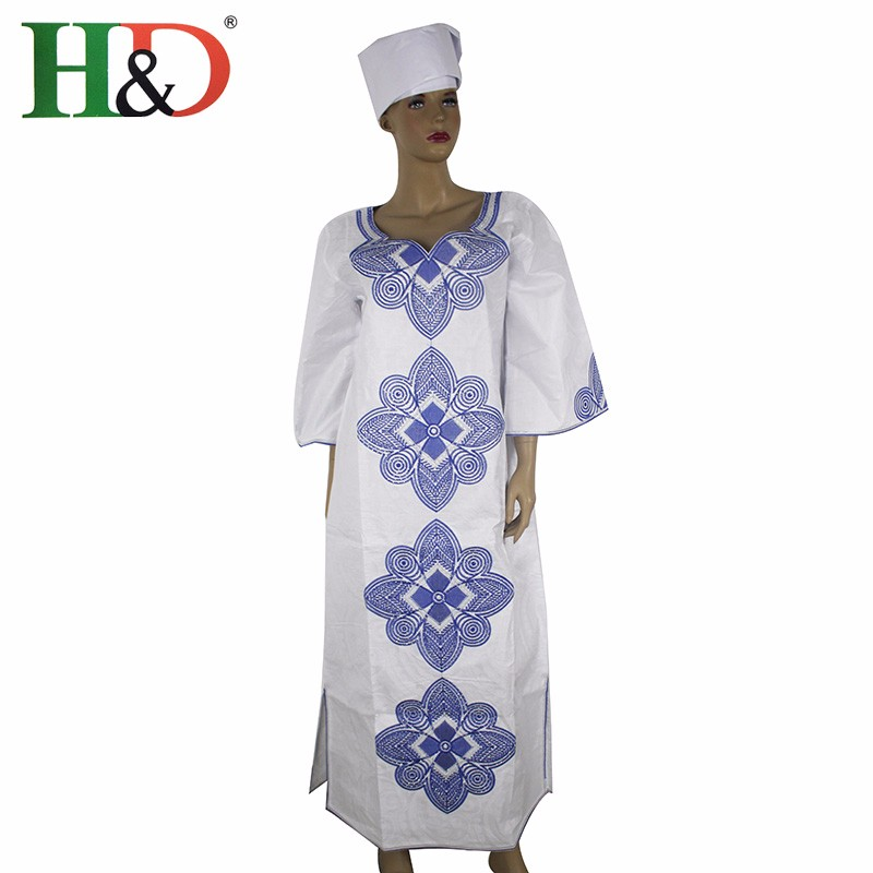 H & D New Fashion African bazin riche dress for women Kapas 100% - Pakaian kebangsaan - Foto 5