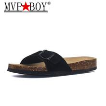 MVP BOY New Man Fashion Summer Cork Slipper Lover Casual Beach Mixed Color Flip Flops Slides Shoe Flat With Plus Size 35-45 цены онлайн