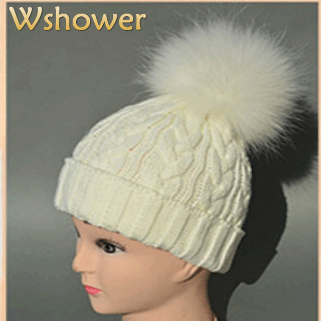 Black White Gray Lady Cable Crochet Women Wool Knitted Beanies Skull Cap 100% Real Raccoon Fur Pompom Winter Hats For Women