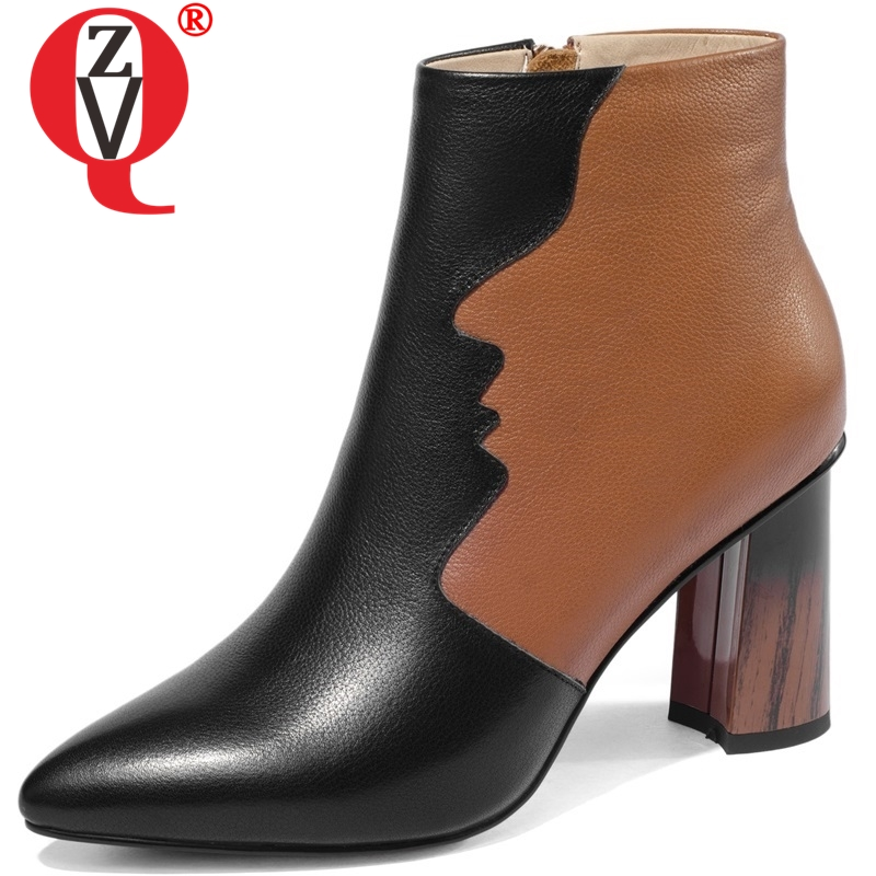 ZVQ women shoes winter newest fashion mixed colors genuine leather pointed toe zip super high hoof heels ankle boots size 33-43ZVQ women shoes winter newest fashion mixed colors genuine leather pointed toe zip super high hoof heels ankle boots size 33-43
