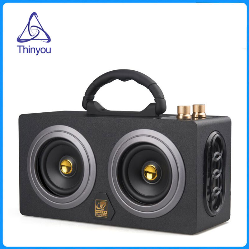 Thinyou Wooden Portable Wireless Bluetooth speaker 10W*2 HIFI Dual Loudspeakers sound Amplifier music center Subwoofer portable professional 2 4g wireless voice amplifier megaphone booster amplifier speaker wireless microphone fm radio mp3 playing