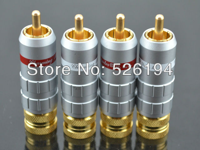Free shipping 4pcs CMC-8036-WF Gold Plated RCA Phono HIFI Plug Connector cable for audio interconnect cable viborg audio 8pcs rhodium gold plated rca socket phono chassis female hifi amp