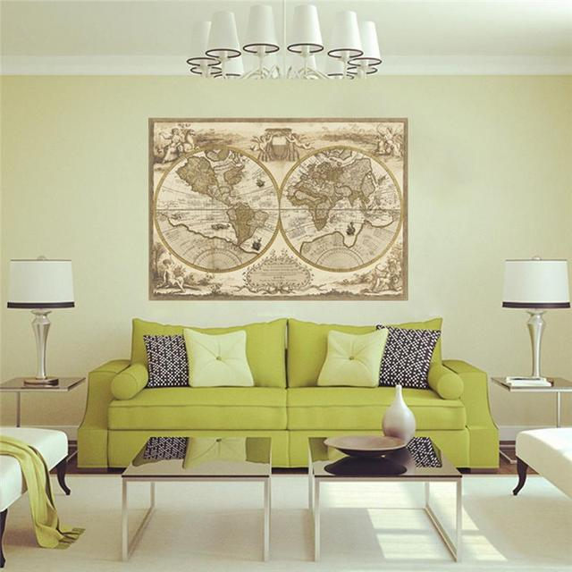 Vintage World Map Wall Stickers Living Room Decorations Diy Print ...