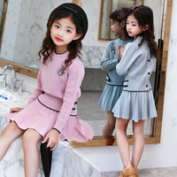 2017 New Girls Autumn Fashion Korean Knitted Solid Wool Pleated Skirt Sweater Girls Set