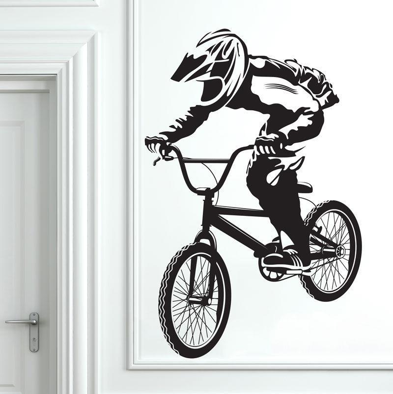 Popular BMX Bike Bicycle Biker Boys Wall Decal Art Decor Sticker Vinyl Mural Biker Wall Paper Wall Stickers ES-44