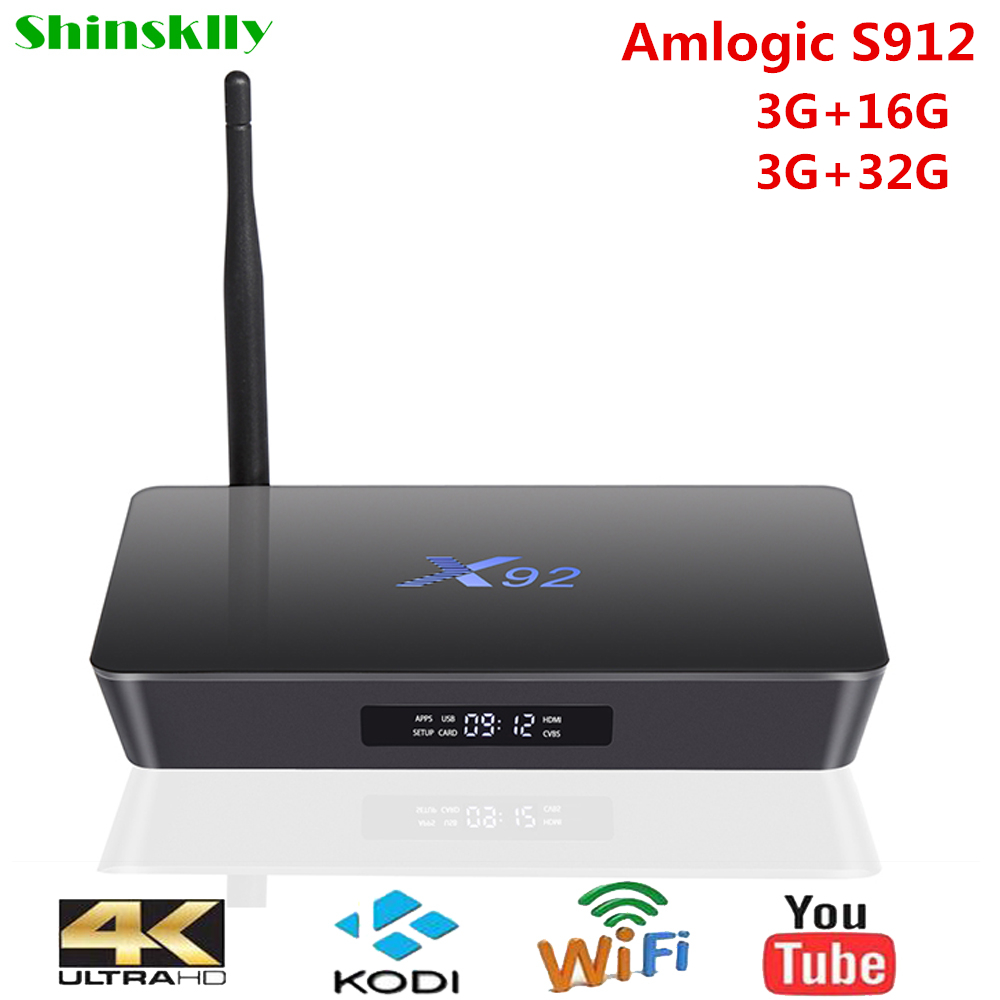 Shinsklly X92 Android TV Box Amlogic S912 Octa Core Smart TV BOX Android 6.0 RAM 3G ROM 16G/32G 5G Wifi 4K 3D player Set Top Box original a95x a2 smart tv box android6 0 amlogic s912 octa core 2g 16g 3g 32g set top box 2 4g 5g wifi bluetooth4 0 media player