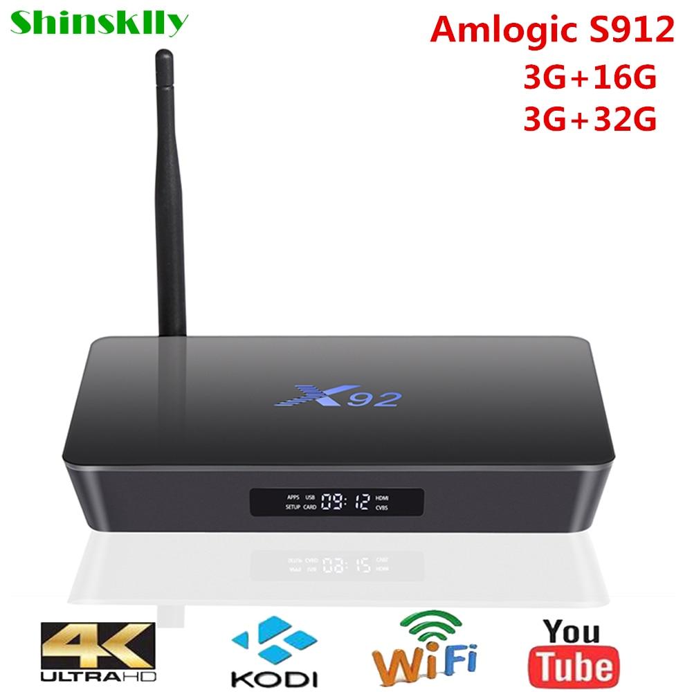 Shinsklly X92 Android TV Box Amlogic S912 Octa Core Smart TV BOX - Audio dhe video në shtëpi - Foto 1