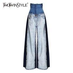TWOTWINSTYLE Casual Denim Patchwork Frauen Hosen Hohe Taille Hit Farbe Große Größe Breite Bein Hosen Weibliche Mode Frühjahr 2019 Neue