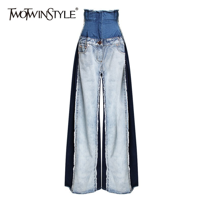 TWOTWINSTYLE Casual Denim Patchwork Women Trousers High Waist Hit Color Big Size Wide Leg Pants Female Fashion Spring 2020 New