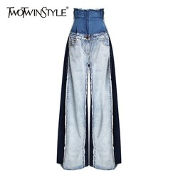 TWOTWINSTYLE Casual Denim Patchwork Women Trousers High Waist Hit Color Big Size Wide Leg Pants Female Fashion Spring 2019 New