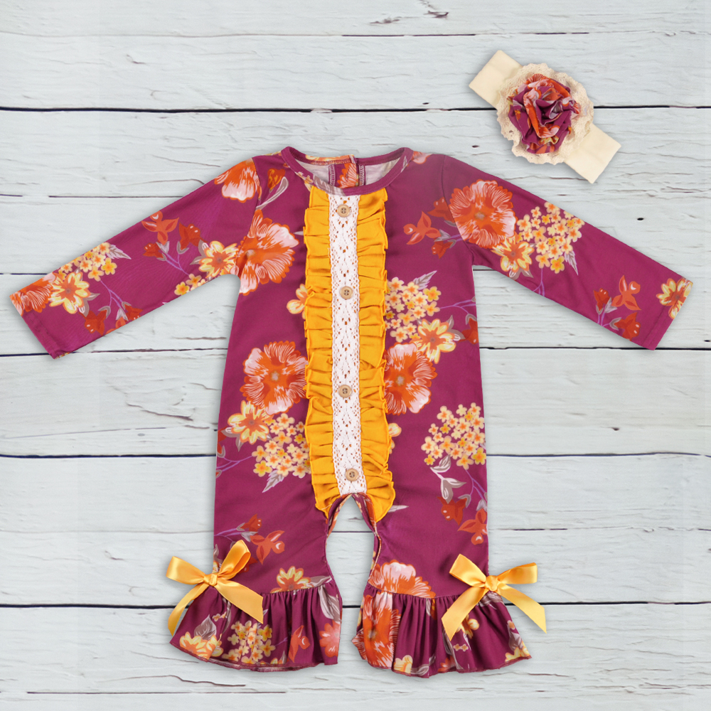 New Fashion Baby   Rompers   Cotton Jumpsuit With Button wholesale Infant   Rompers   Knitted Ruffle Outfit With Headband GPF806-177