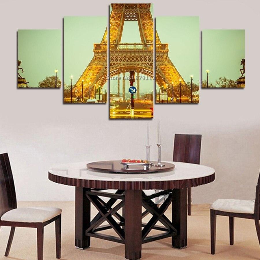 Direct Selling Hot Sale Modern Home Decor Paris Tower Landscape Building Pictures Paints Print 5 Panels Not Framed Painting