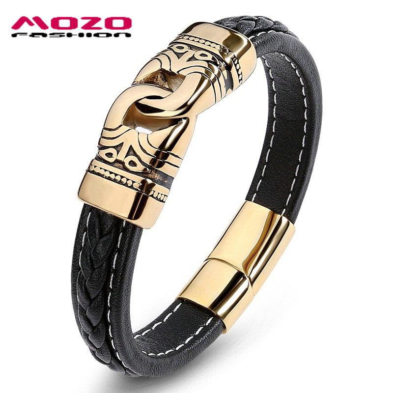 MOZO fashion Male Bangles Stainless steel real leather men's bracelet hip hop titanium charm bracelet simple magnet clasp PS2015