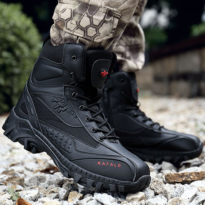 Hommes bottes d'hiver 2018 résistant à l'usure désert bottes anti-dérapant armée bottes hommes imperméable en plein air militaire chaussures cheville Combat botte