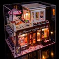 Doll House Include Dust Cover Large cafe Miniature Wooden Dollhouse Furniture Model Toys Christmas Birthday Gift