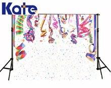 Kate custom made feliz aniversário tema de fundo pano de fundo da foto fundo branco colorido fita fundo fogos de artifício coloridos