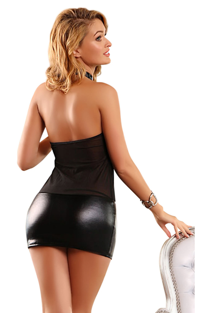 Wetlook and Silver Chains Mini Club Dress Halter