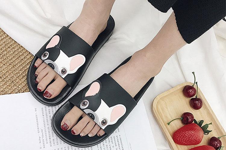 18 Fashion Animal Bulldog Slippers Summer Sandals Beach Flip Flops Skid Indoor Woman Shoes Women Slides zapatillas Mujer 7