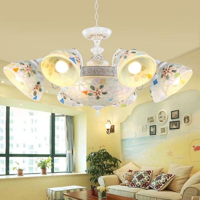 European Mediterranean Chandelier Low Floor Garden Style Living Room Lamp Bedroom Dining Lamps And Lantern