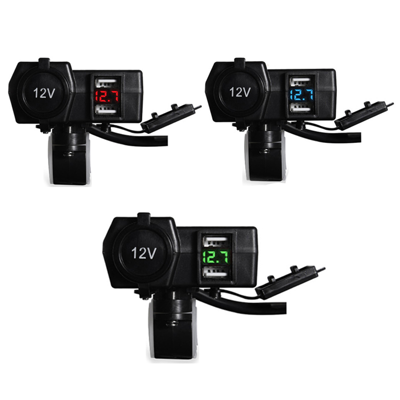 Dual USB DC 12V/24V 3.1A/4.2A Car Cigarette Lighter Power Socket Charger With Voltage Display & Switch For Marine Boat Car