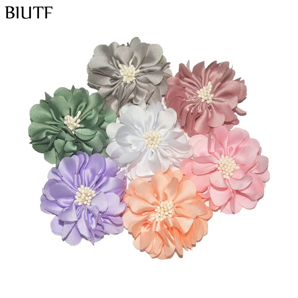 Image 3 - 100pcs/lot 4.5cm Handmade Fabric Flower with Center DIY Boutique Headband & Hairpin Accessories On Sale TH233-in Hair Accessories from Mother & Kids
