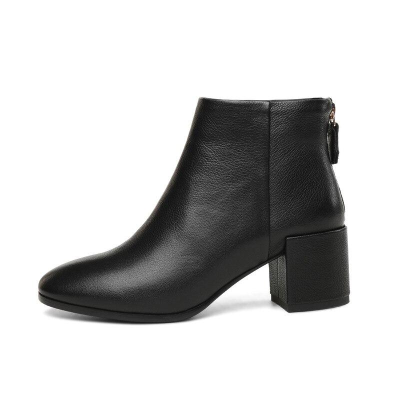 Cuadrados Caramel Otoño Cuero Invierno 2018 Zapatos Elegante Damas La negro De Altos Botines Botas Genuino Manera Tacones Clásico Moonmeek 4wgTxR7