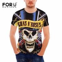 FORUDESIGNS 3D Novelty Gun N Roses Men T Shirt Mens T Shirts Fashion 2017 Short Sleeve