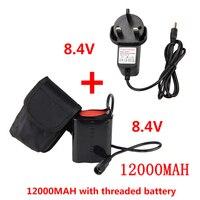 Luz da bicicleta 8.4v Fonte de alimentação 12000 mAh Battery Pack para X2 X3 Levaram Luzes de Bicicleta Lâmpada de Bicicleta com Carregador