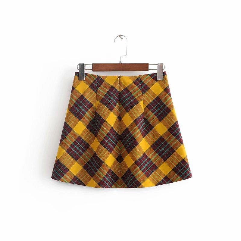 defef5430 GOPLUS 2019 Streetwear Fashion Sexy Autumn Winter Yellow High Waist Plaid  Skirt Womens A line Skirts Bodycon Mini Short Skirt-in Skirts from Women's  ...