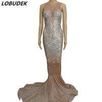 Блестящие кристаллов алмаза Длинные рыбий хвост платье певица этап хозяин one piece костюмы Star Bar вечерние празднование сексуальное платье