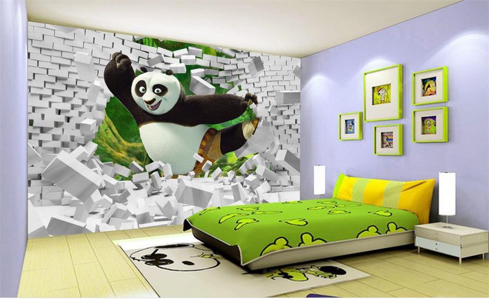 3d bedroom painting panda wall background mural bed brick wallpapers custom