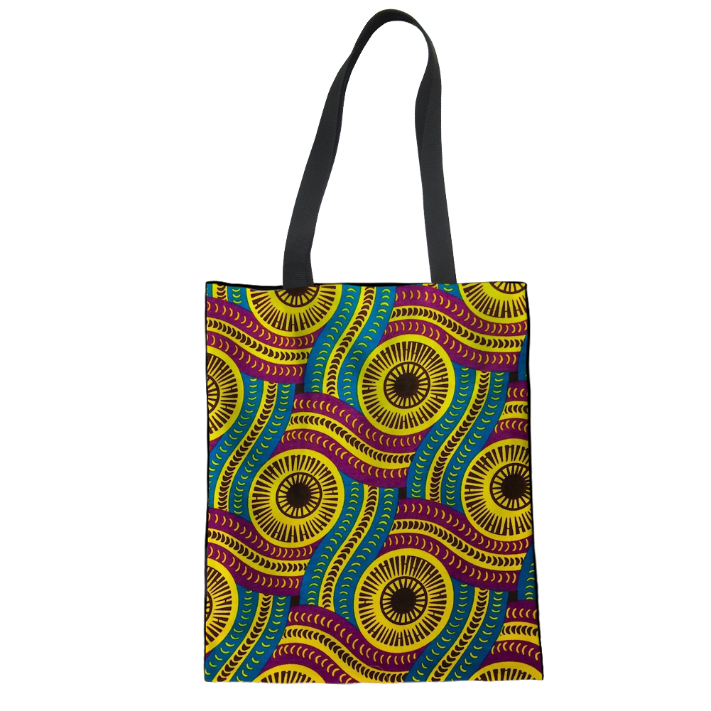 FORUDESIGNS African Style Foldable Shopping Bag Portable ECO Canvas Handbag Multi-function Pouch Travel Bag Accessories Supplies ...