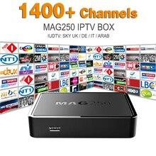 Mag 250 Système Linux IPTV Set Top Box HD 1080 p IPTV Récepteur avec L'europe Arabe Iptv Compte Iudtv Ciel ROYAUME-UNI DE IL Potugal Indien