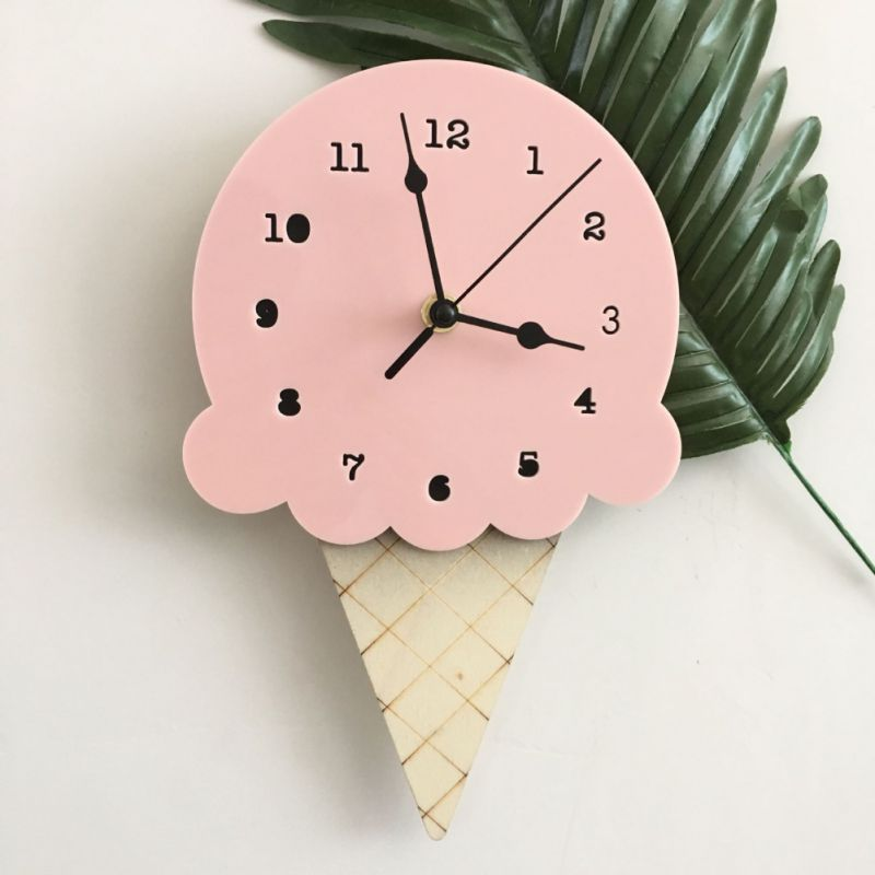 Hanging-Clock Battery-Powered Ice-Cream Bedroom Non-Ticking Silent Nordic Children Wall