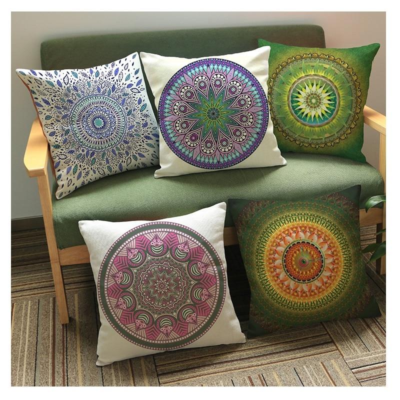 Big Size Sofa Cushion Ugly Slipcovers Reviews Geometric Flower Cover Mandala Pattern Thin Linen ...