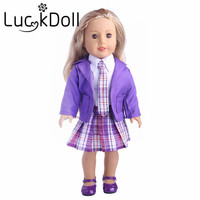 Удачи кукла Новые поступления 1 комплект = пальто + рубашка + юбка + галстук + обувь подходит 18 дюймов American Girl кукла, дети лучший подарок на день...