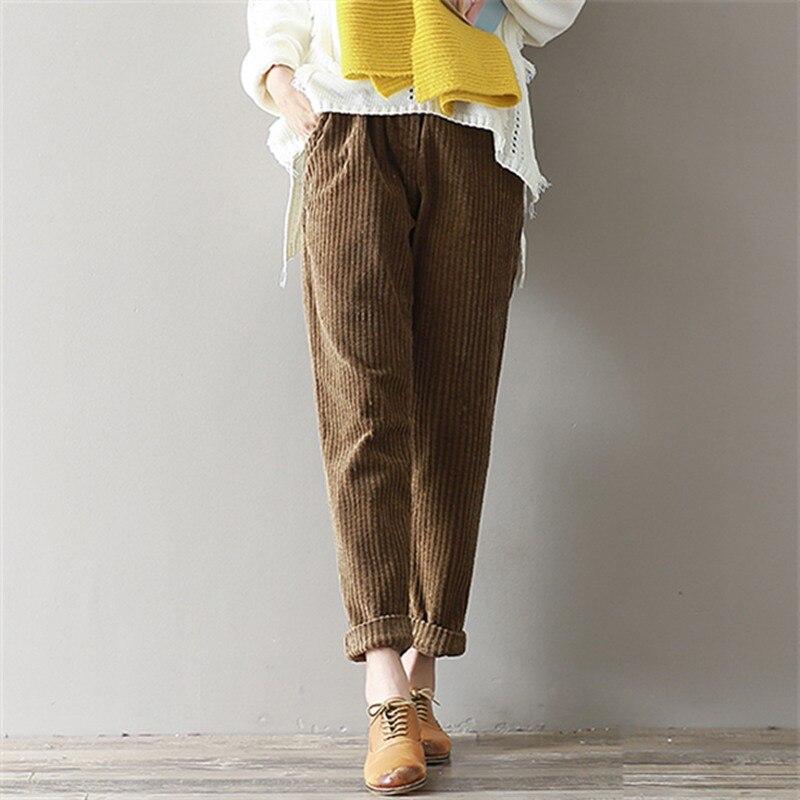 Mferlier Corduroy Pants Large Size 3XL Women Elastic Waist Straight Trousers Loose Mori Girl Winter Vintage Slim Harem Pants