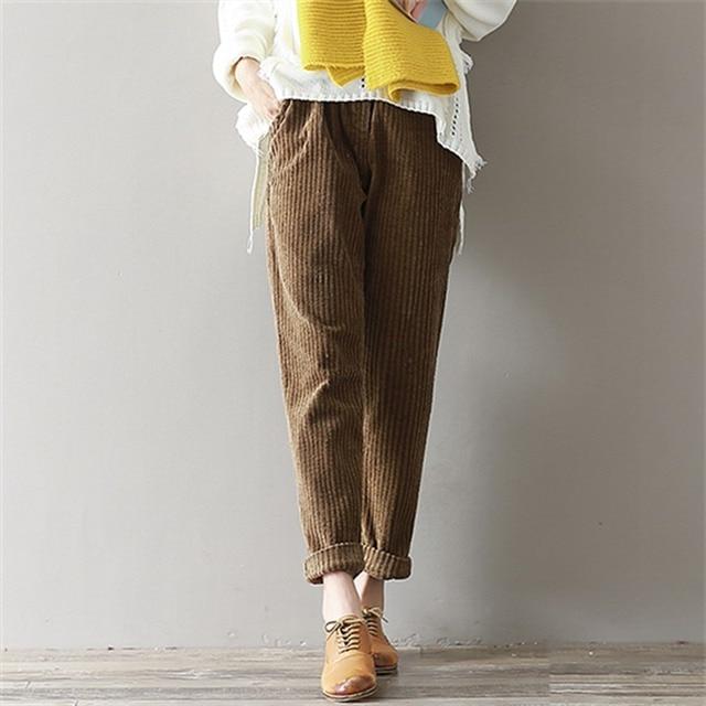 e465ac84a38 Mferlier Corduroy Pants Large Size 3XL Women Elastic Waist Straight Trousers  Loose Mori Girl Winter Vintage Slim Harem Pants