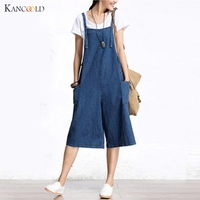 2017 Design Casual Overalls Women Romper Jumpsuit Fashion Solid Sleeveless Crew Neck Pockets Bib Pants Playsuits